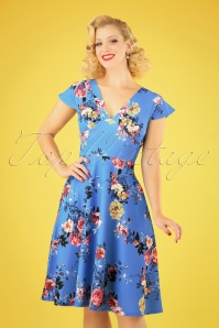 50s Bianca Bouquet Swing Dress in Blue