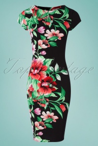 60s Aloha Tropical Floral Pencil Dress in Black