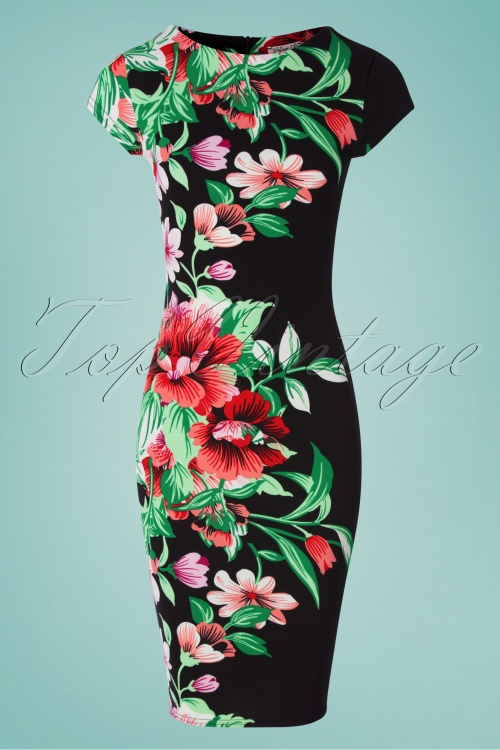 Vintage Chic 30782 Pencildress Bodycon Floral Black 010519 0012w