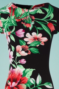 Vintage Chic 30782 Pencildress Bodycon Floral Black 010519 0012b
