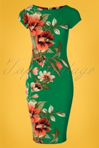 Vintage Chic for TopVintage 60s Aloha Tropical Floral Pencil Dress in Emerald Green