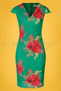 50s Lynda Floral Pencil Dress in Emerald Green