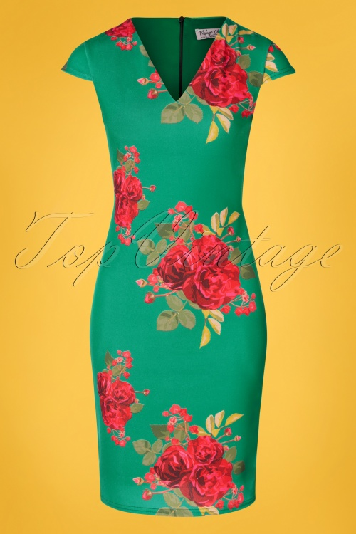 Vintage Chic 30413 Pecildress Green Floral Roses 010519 0005w