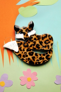 60s Faustine Fox Brooch in Leopard