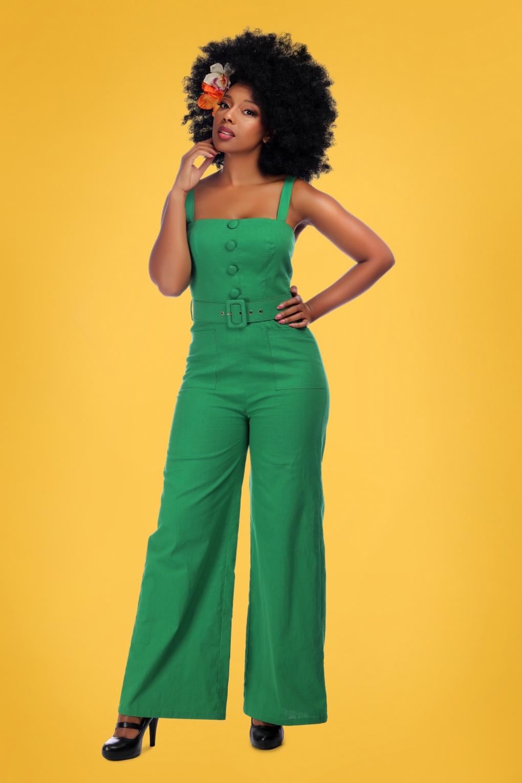 Retro Tiki Dress – Tropical, Hawaiian Dresses 50s Olympia Jumpsuit in Green �58.25 AT vintagedancer.com