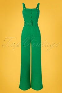 Collectif Clothing 27479 Olympia Plain Jumpsuit in Green 20180816 001W