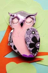 TopVintage exclusive ~ 60s Olive Owl Brooch in Lilac