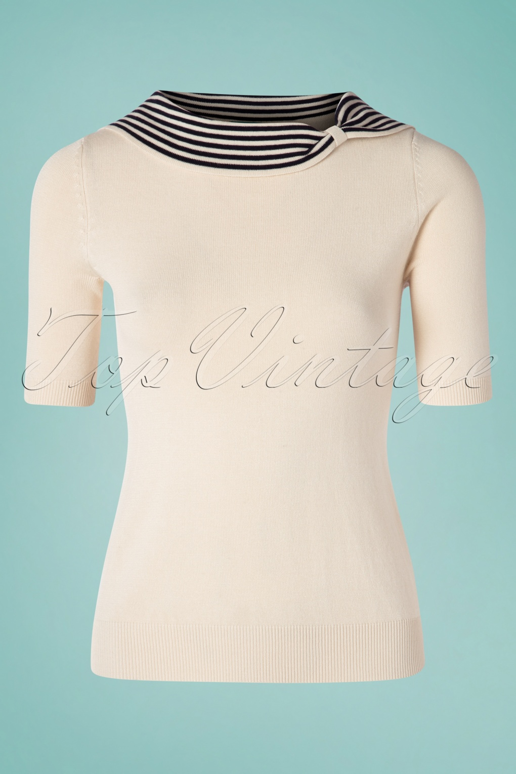 1950s Sweaters, 50s Cardigans, 50s Jumpers 50s Annette Knitted Top in Navy and Cream �51.43 AT vintagedancer.com