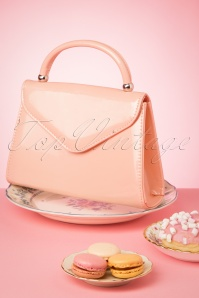 60s Lillian Lacquer Flap Bag in Blush Pink and Silver