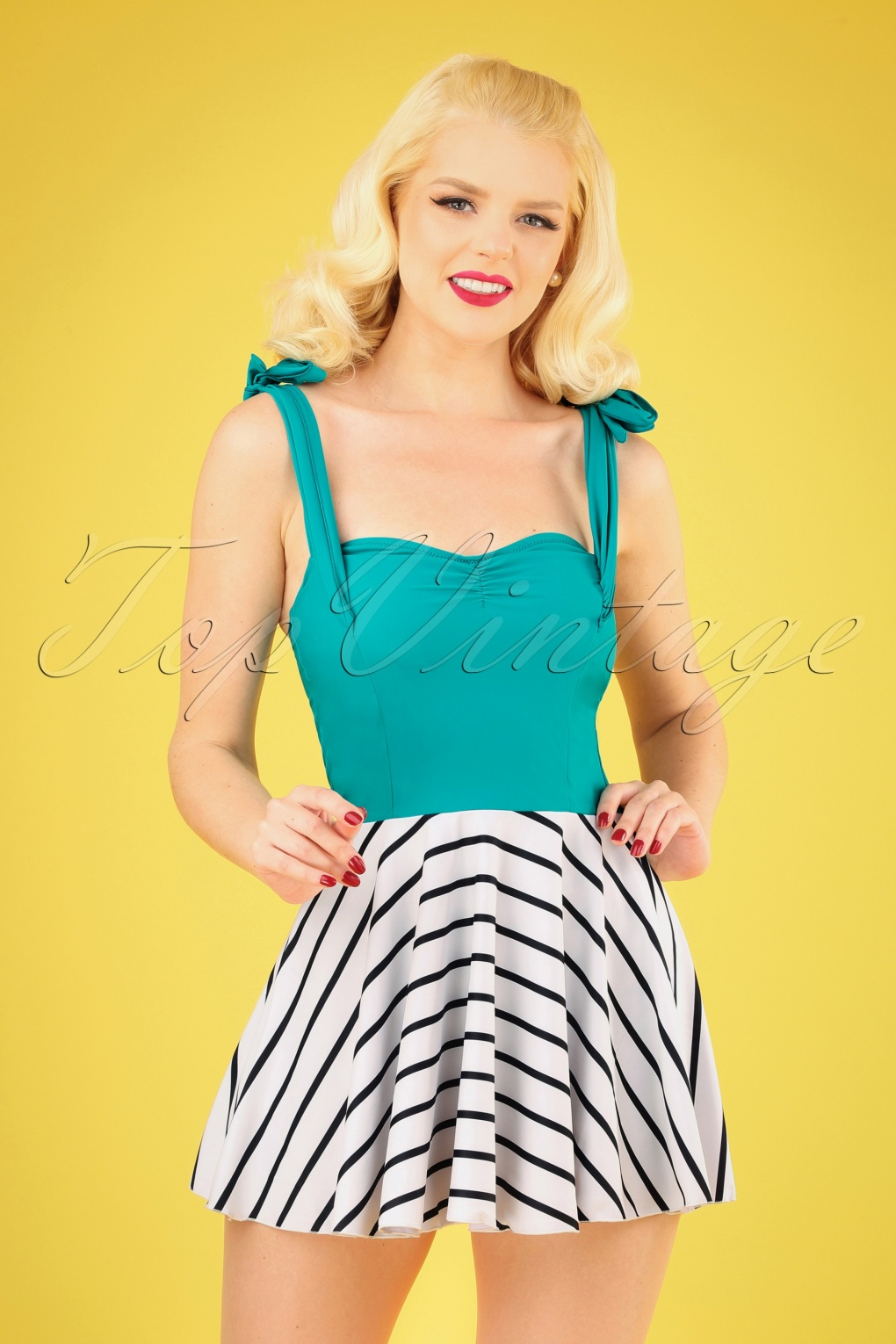 1940s Bathing Suits History 50s Marie Swim Dress in Turquoise and White £41.29 AT vintagedancer.com