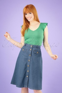 60s Caroll Chambray Skirt in River Blue