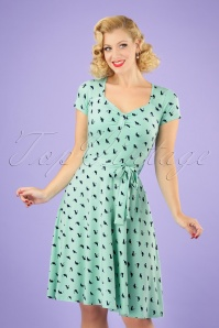 50s The Frieda Cat Dress in Mint and Navy