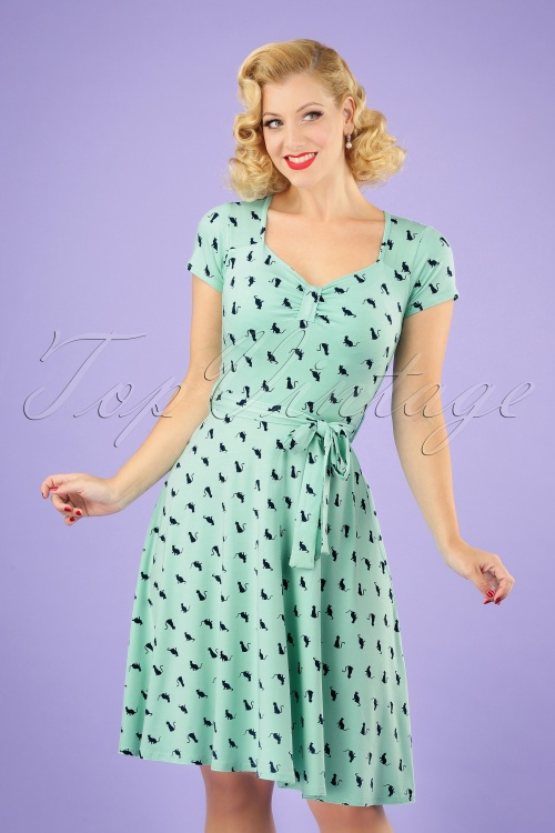 TopVintage Boutique Collection 30038 50s Cat Swing Dress in Mint 20190318 040MW