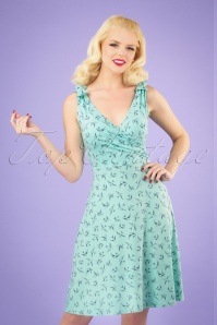50s The Janice Swallow Dress in Mint and Navy
