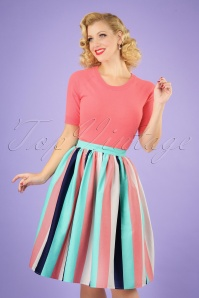 Jasmine Seaside Stripes Swing Skirt Années 50 en Multi