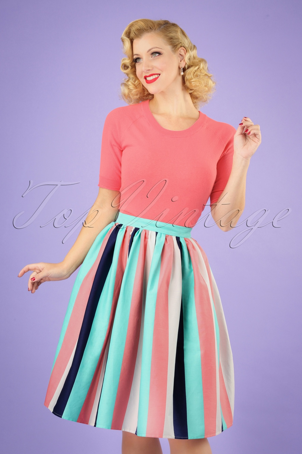 Vintage Cruise Outfits, Vacation Clothing 50s Jasmine Seaside Stripes Swing Skirt in Multi £24.56 AT vintagedancer.com