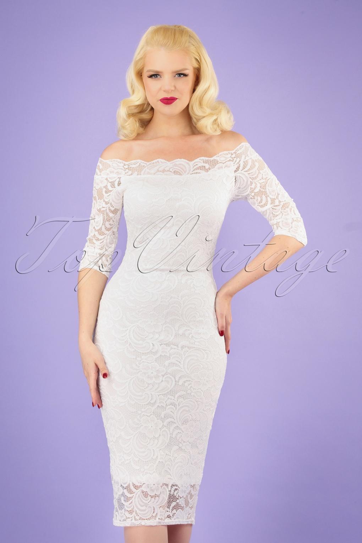50s Wedding Dress, 1950s Style Wedding Dresses, Rockabilly Weddings 50s Vera Lace Pencil Dress in Ivory �29.60 AT vintagedancer.com