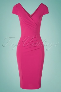 50s Brenda Pencil Dress in Hot Pink