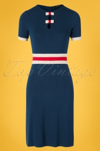 60s Claudia Bows Dress in Navy and Red
