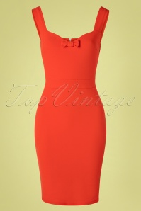 50s Amara Bow Pencil Dress in Fiesta Orange