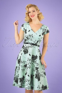 Vintage Chic 28765 Mint Floral Pencil Dress 20190327 040MW