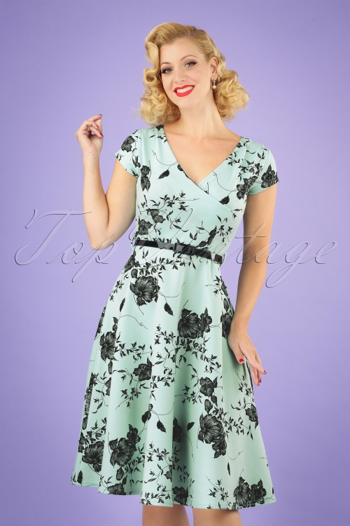 Vintage Chic 28765 Mint Floral Pencil Dress 20190327 040MW