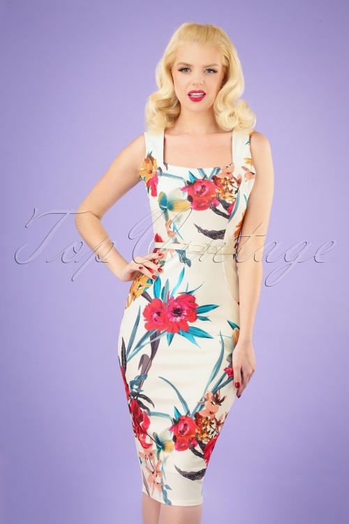 Vintage Chic 28773 White and Red Floral Pencil Dress 20190327 040MW