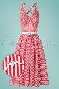 Miss Candyfloss 28671 Swingdress Red Stripes Birds 20190502 0008W1