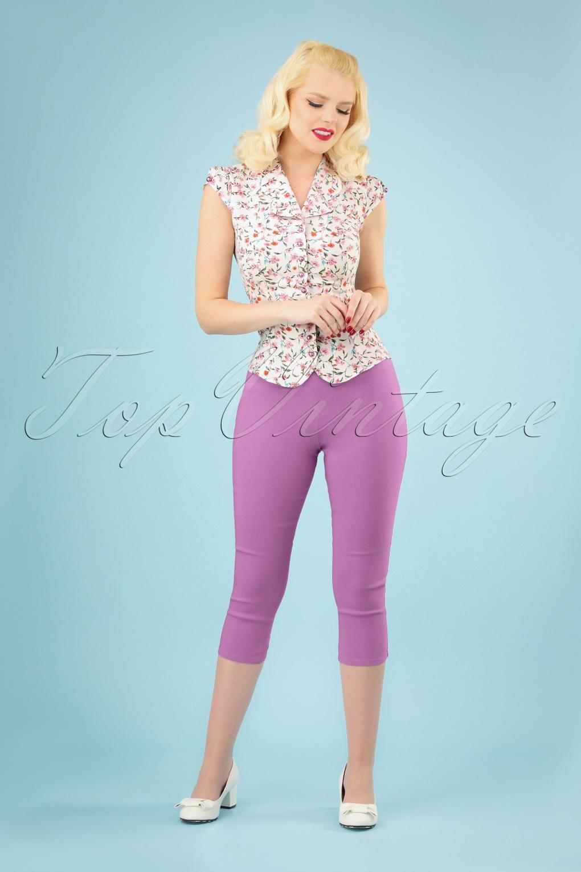1950s Pants & Jeans- High Waist, Wide Leg, Capri, Pedal Pushers 50s Tina Capri Pants in Lavender �27.71 AT vintagedancer.com