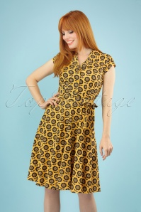 60s Penny Flower Dress in Mustard Yellow