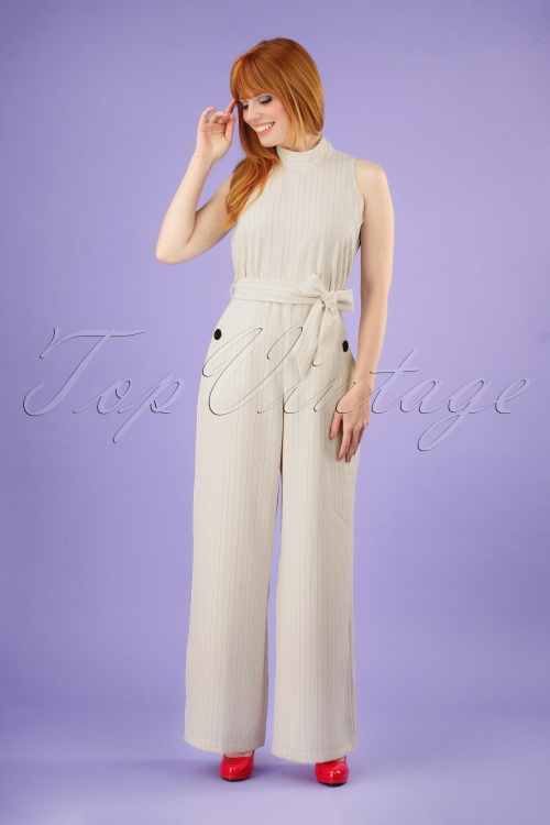 Closet London 30163 Blue Horizon Cream Striped Jumpsuit 20190327 040M w
