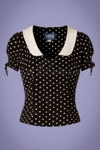 Collectif Clothing 27455 Mirella Polkadot Top in Black 20180813 001W