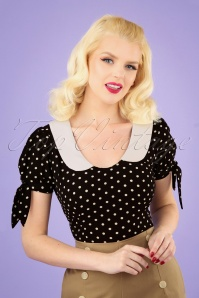 50s Mirella Polka Dot Top in Black