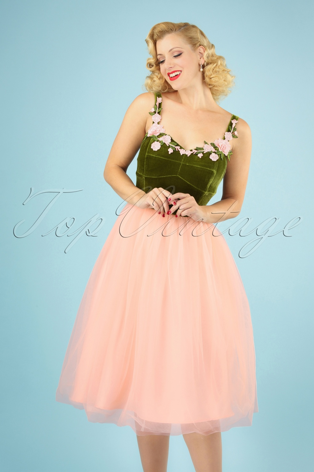 Vintage Evening Dresses and Formal Evening Gowns 50s Josie Occasion Swing Dress in Pink and Green £92.32 AT vintagedancer.com