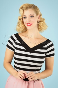 50s Caitlin Stripes Top in Black and White