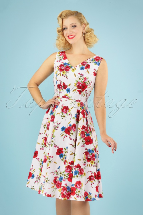 Hearts and Roses 29017 White Floral Swing Dress 20190315 040M w