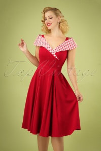 50s Gillantar Rose Daisy Swing Dress in Red