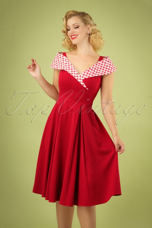 Miss Candyfloss 28687 Red Daisy Swing Dress 20190313 040M W1