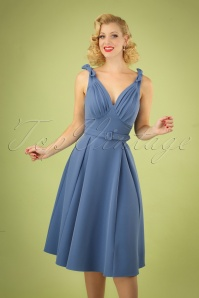 50s Bambina Regina Bow Swing Dress in Lavender Blue