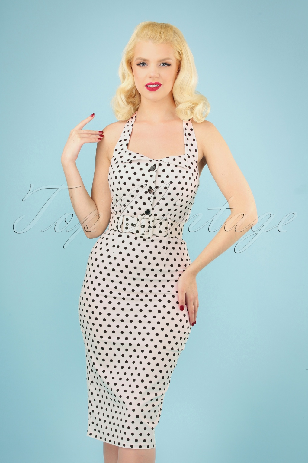 Vintage Burlesque Clothing, Costumes, Outfits 50s Wanda Polkadot Pencil Dress in White and Black £14.60 AT vintagedancer.com