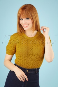 60s Heart Crew Top in Mustard Yellow