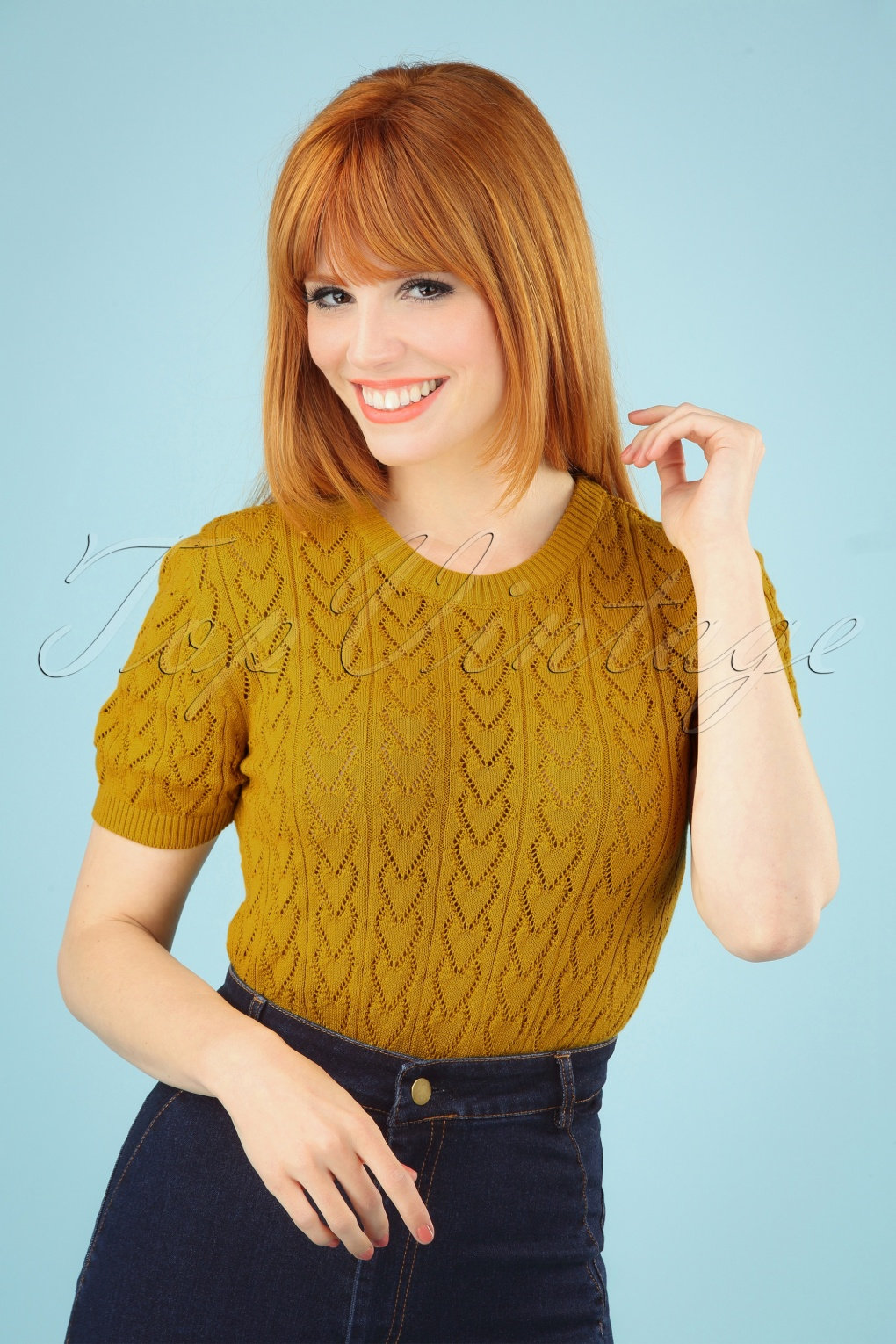 60s Dresses & 60s Style Dresses UK 60s Heart Crew Top in Mustard Yellow �30.68 AT vintagedancer.com