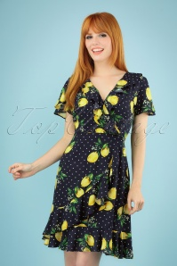 60s Lia Lemon Dress in Navy