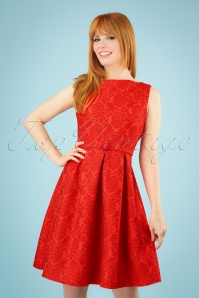 Florida Jacquard Dress Années 60 en Corail