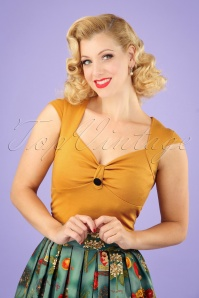 50s Button Sweetheart Top in Mustard