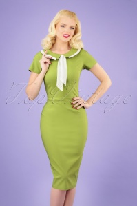 50s Catherine Pencil Dress in Lime