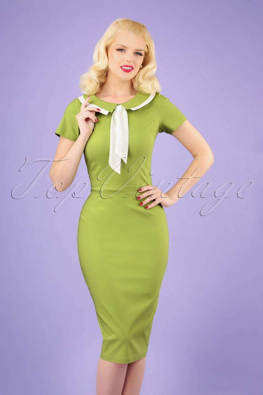 1960s Style Dresses, Clothing, Shoes UK 50s Catherine Pencil Dress in Lime �94.16 AT vintagedancer.com