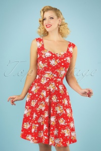 50s The Frances Floral Dress in Red