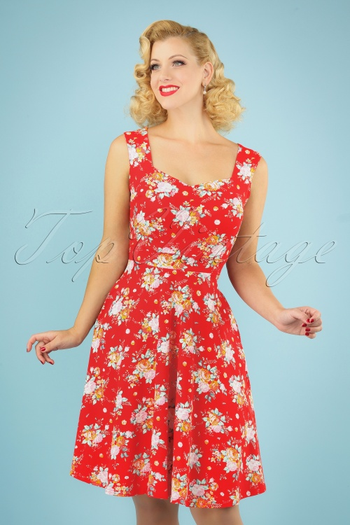 TopVintage Boutique Collection 30040 50s The Frame Floral Dress 20190312 0040MW
