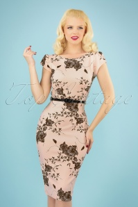 Vintage Chic 28764 Nude Floral Pencil Dress 20190327 040MW